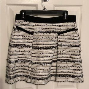Rebecca Taylor black and white tweed skirt